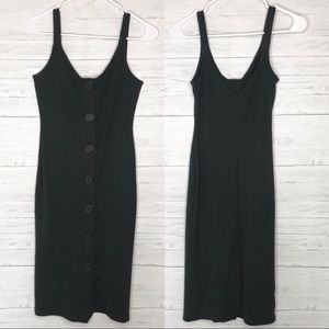 UO Black Gray Ribbed Knit Button Down Midi Dress